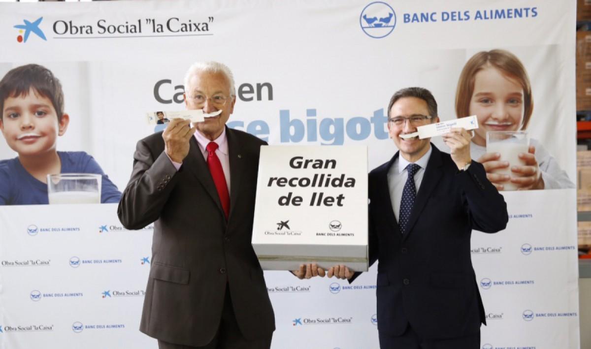 Eduard Arruga, del Banc dels Aliments, i Jaume Giró, de la Caixa, a la presentació de la campanya 'Cap nen sense bigoti'
