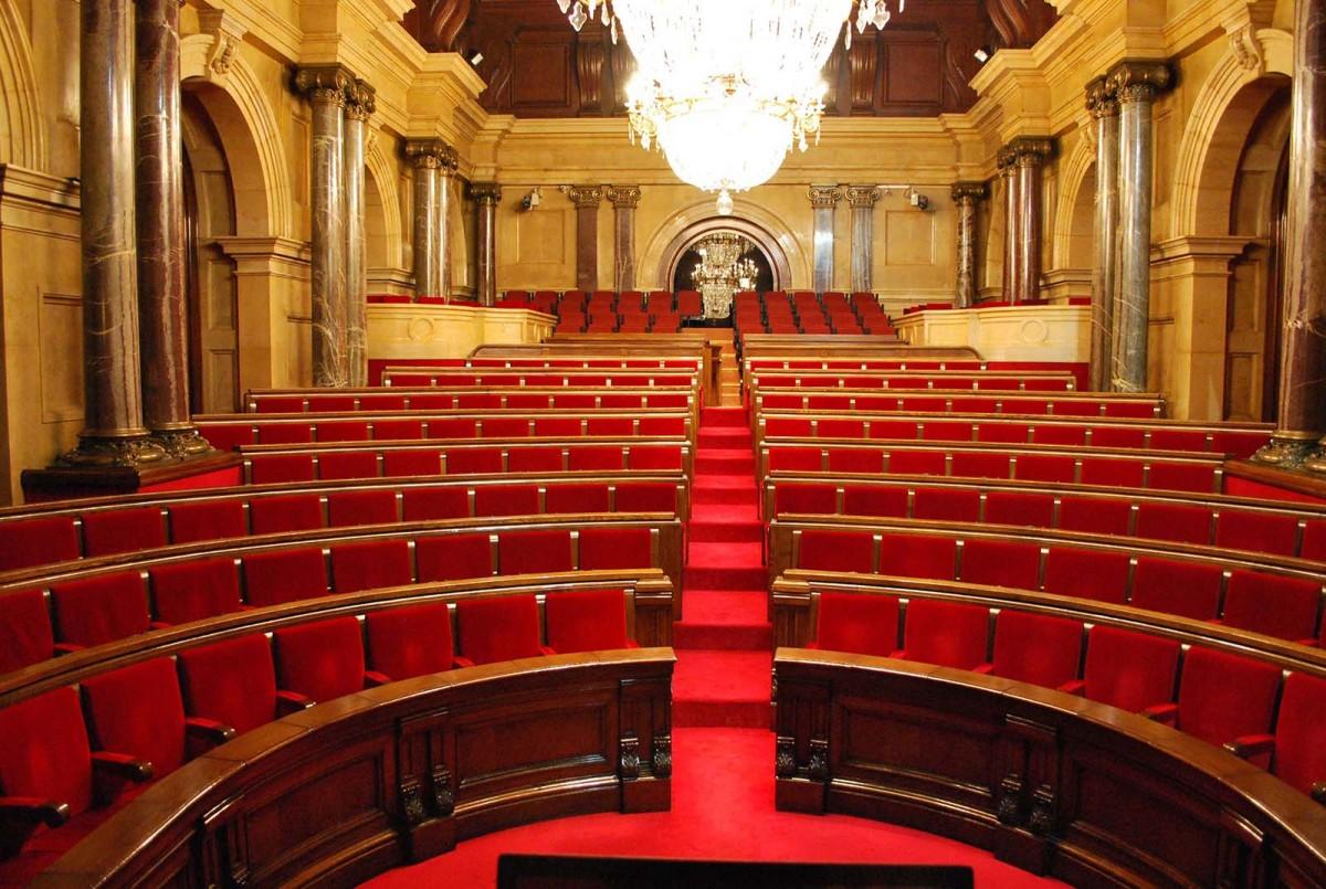 L'hemicicle del Parlament de Catalunya, buit
