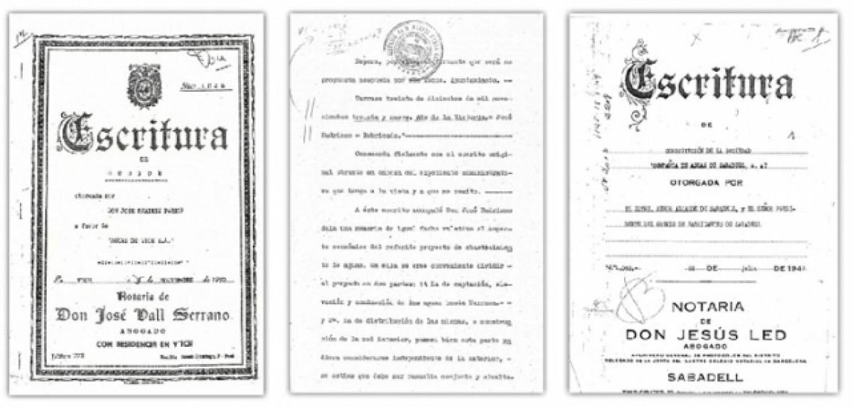 Els contractes de cessió dels drets de l'aigua a Vic, Terrassa i Sabadell, signats durant el franquisme