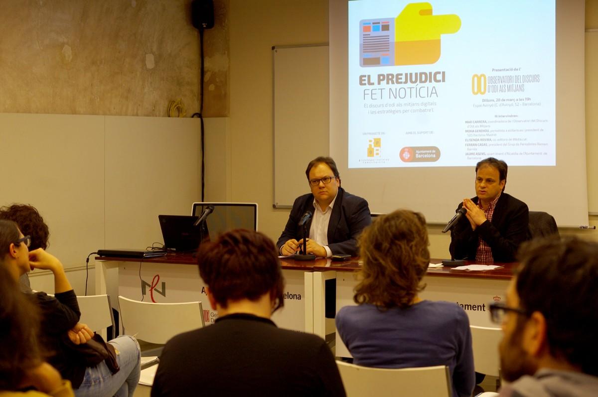 Ferran Casas, president del Grup Barnils, i Jaume Asens, tinent d'alcaldia de Drets de Ciutadania de l'Ajuntament de Barcelona, a la presentació de l'Observatori