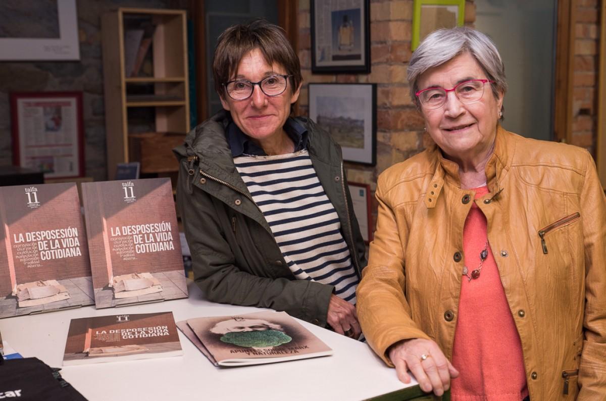 Aurèlia Mañé i Miren Etxezarreta, a l'acte organitzat per Muntanya de Llibres i Dies d'agost