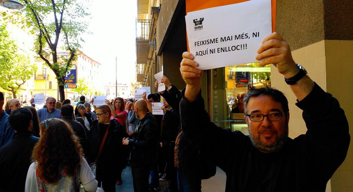 Steve Cedar durant una acció contra el feixisme a Vic
