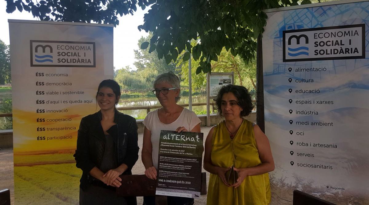 Lina Costa, Mireia Franch i Betlem Parés, a la presentació d'alTERna't, avui a l'Embarcador del Ter