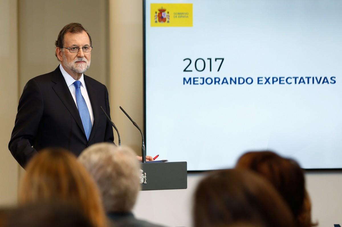 El president espanyol, Mariano Rajoy, en una compareixença davant la premsa