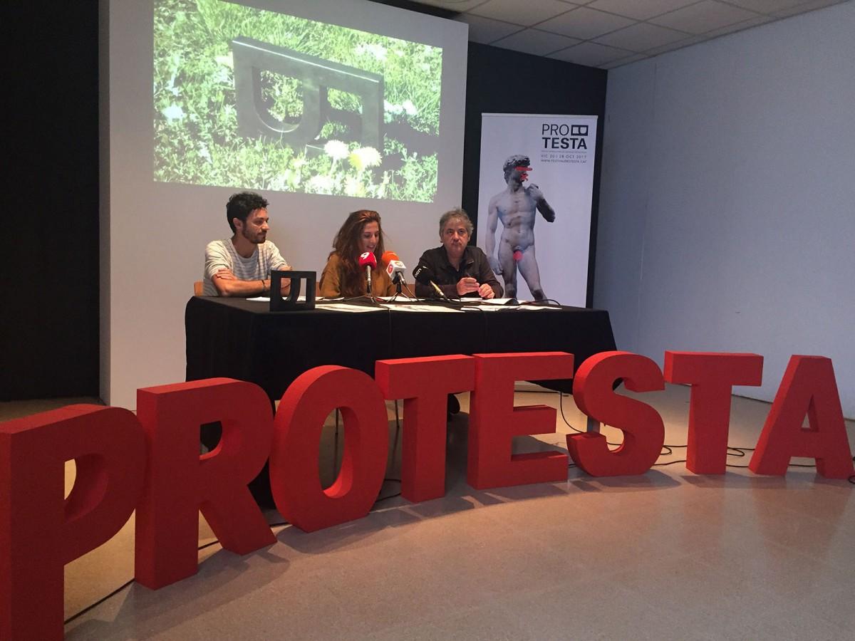 Àngel Amargant, Marta Vilanova i Ramon Parramon, a la presentació del Festival Protesta