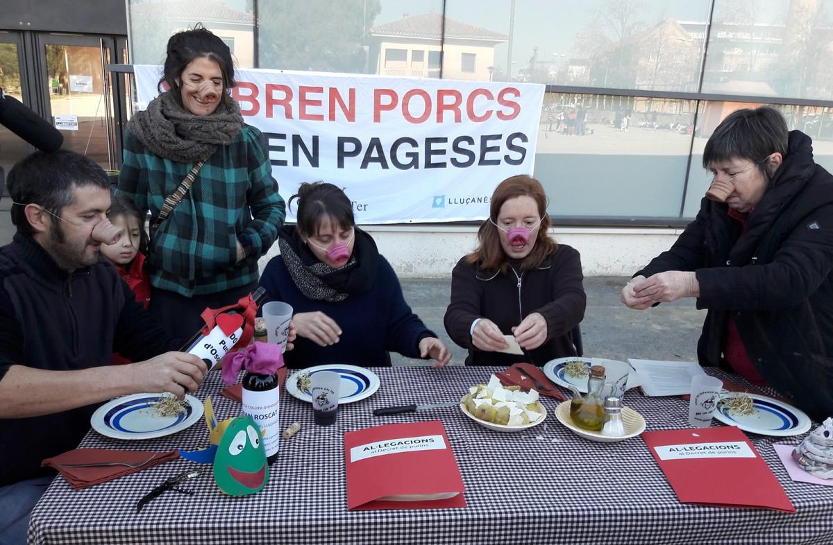 Els activistes escenificant que es «menjaven les al·legacions amb patates» aquest matí a Vic