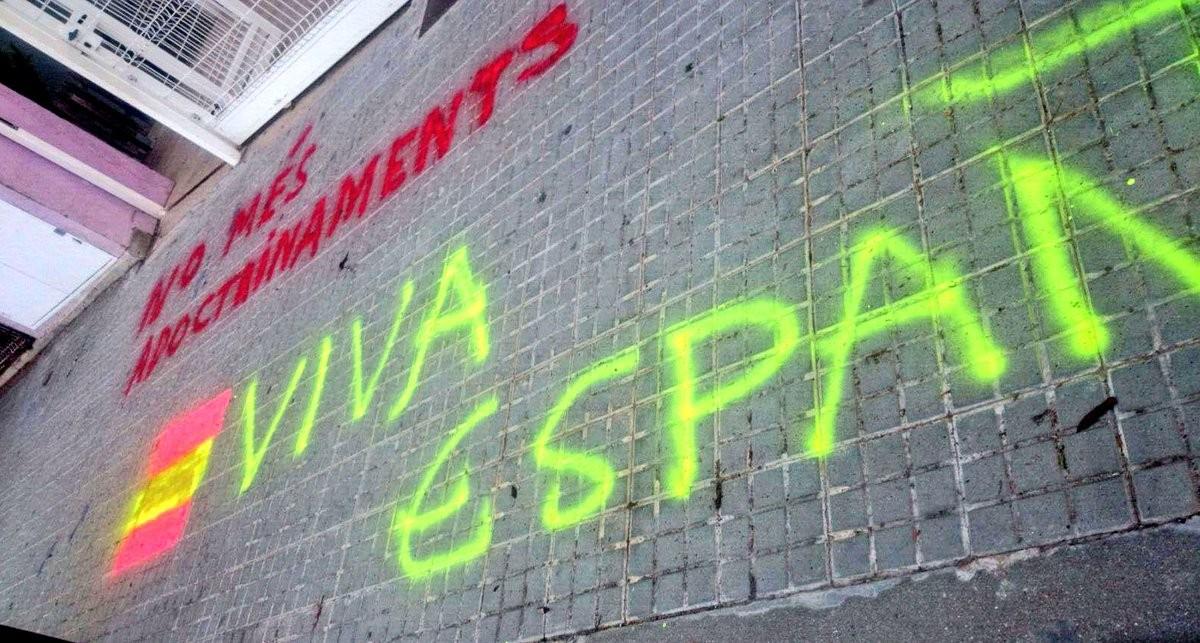 Pintades espanyolistes aparegudes davant l'escola de Vacarisses aquest divendres 17 de novembre