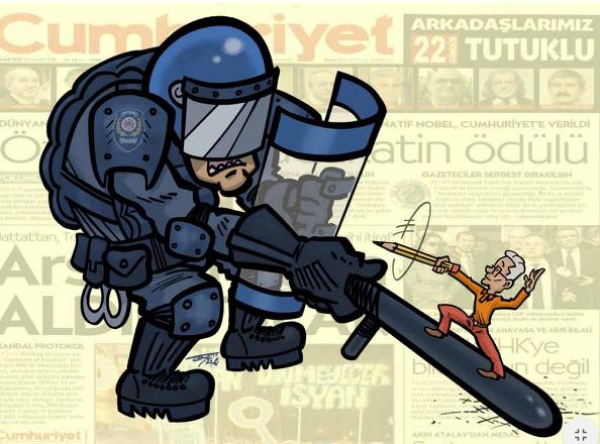 Il·lustració a l''Illegal Times' de Terry Anderson, dibuixant escocès i membre del comitè de direcció de l'organització Cartoonist's Rights Network International
