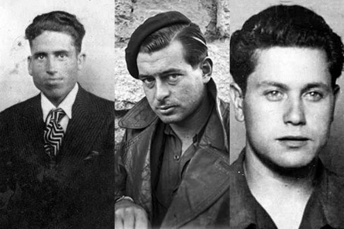Desquerra a dreta, Jordi Pons Argilés, àlies 'Tarantula'; Marcel·lí Massana Vancell, àlies 'Panxo' i Federico Arcos Martínez, àlies 'Fede'