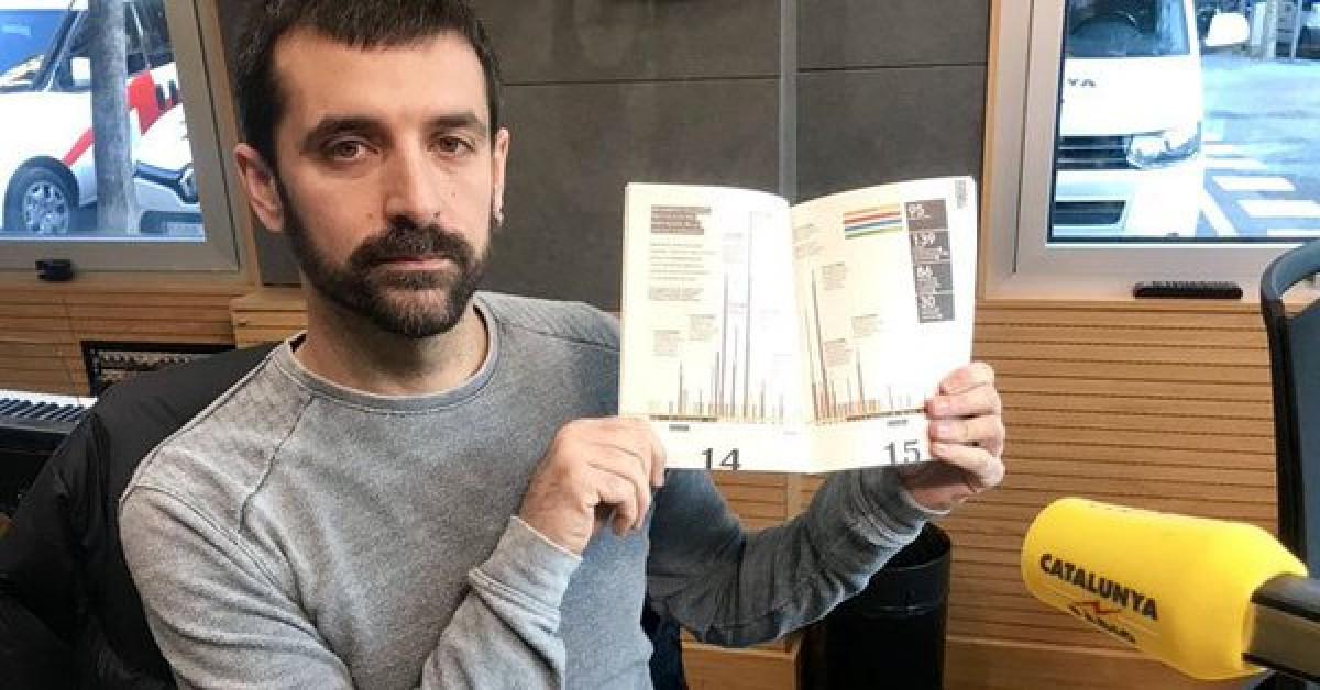 Jordi Borràs, mostrant el seu reportatge a l'Anuari durant una entrevista a Catalunya Ràdio