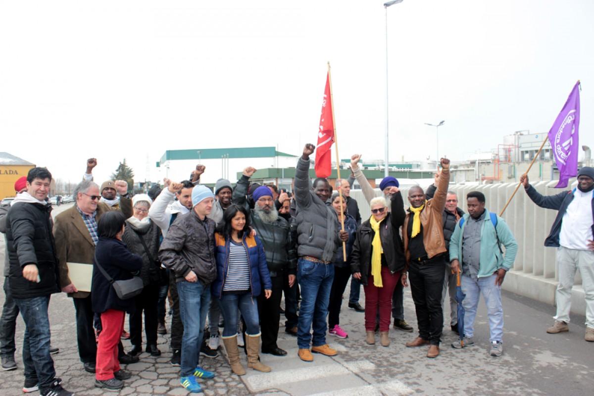 Treballadores de l'escorxador Le Porc Gourmet, a Santa Eugènia de Berga