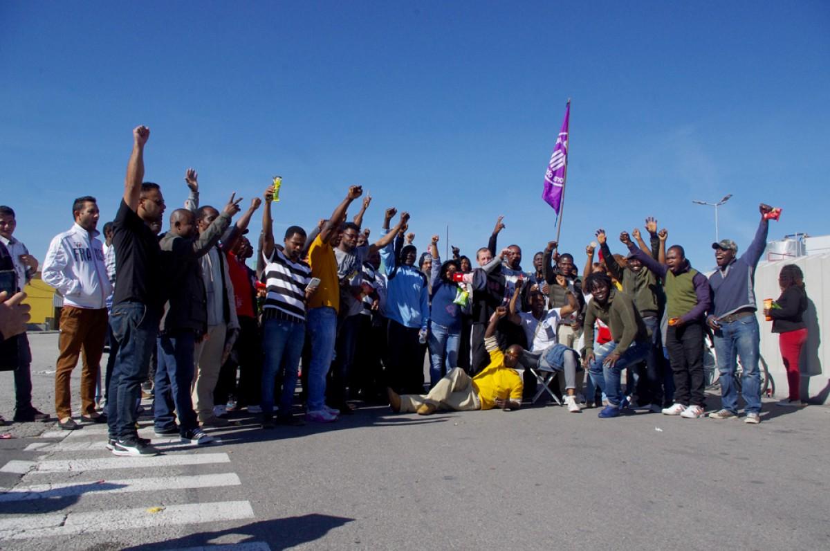 Treballadores i treballadors de l'escorxador Le Porc Gourmet, a Santa Eugènia de Berga