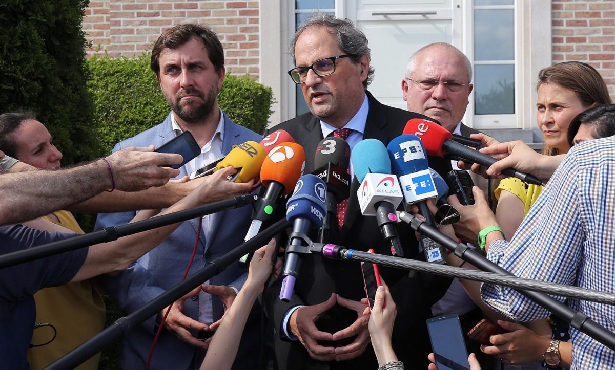 El president Torra durant la seva recent visita a Brussel·les amb els ja exconsellers Comín, Puig i Serret