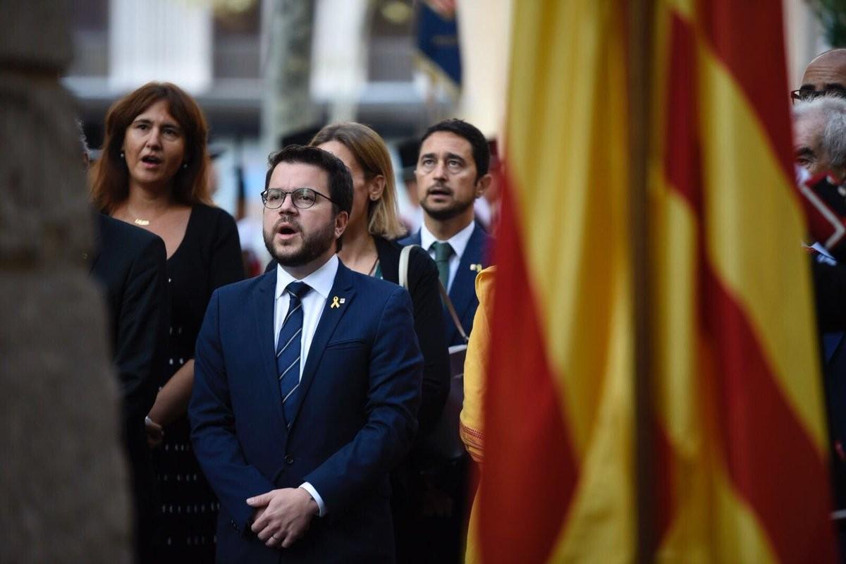 Pere Aragonès, vicepresident del Govern, durant l'ofrena floral al monument a Rafael de Casanova, aquesta Diada