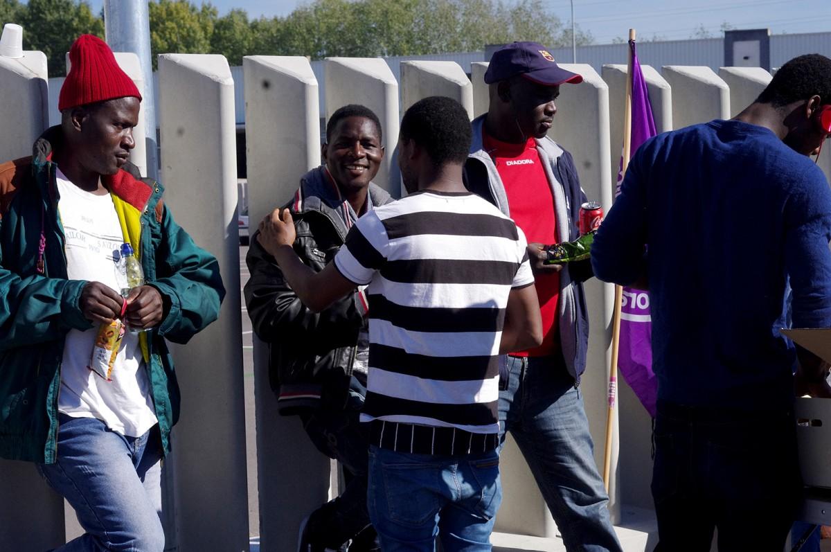Treballadors de Le Porc Gourmet concentrats davant l'escorxador ara fa uns mesos