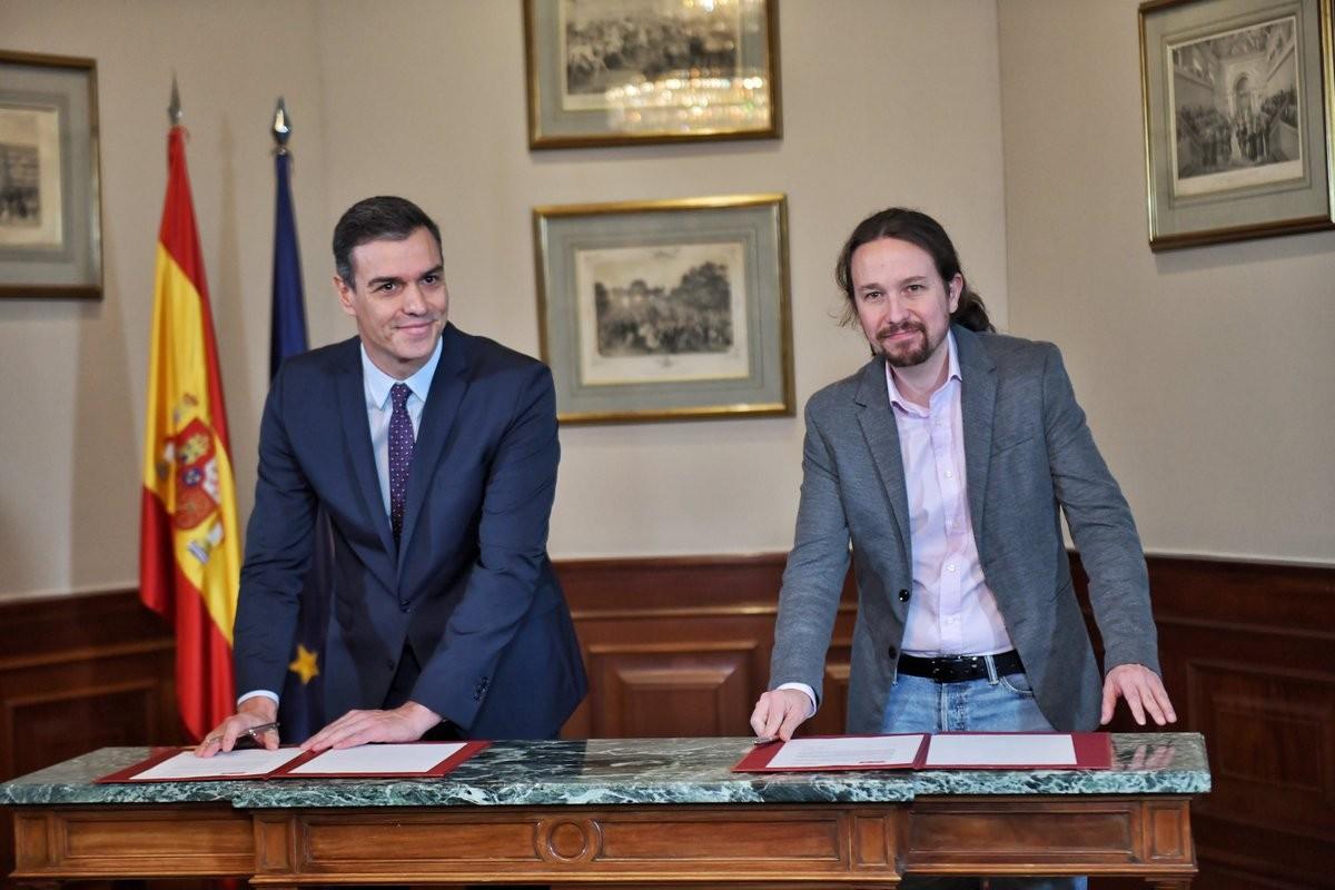 Signatura del pacte de govern entre PSOE i Unides Podem