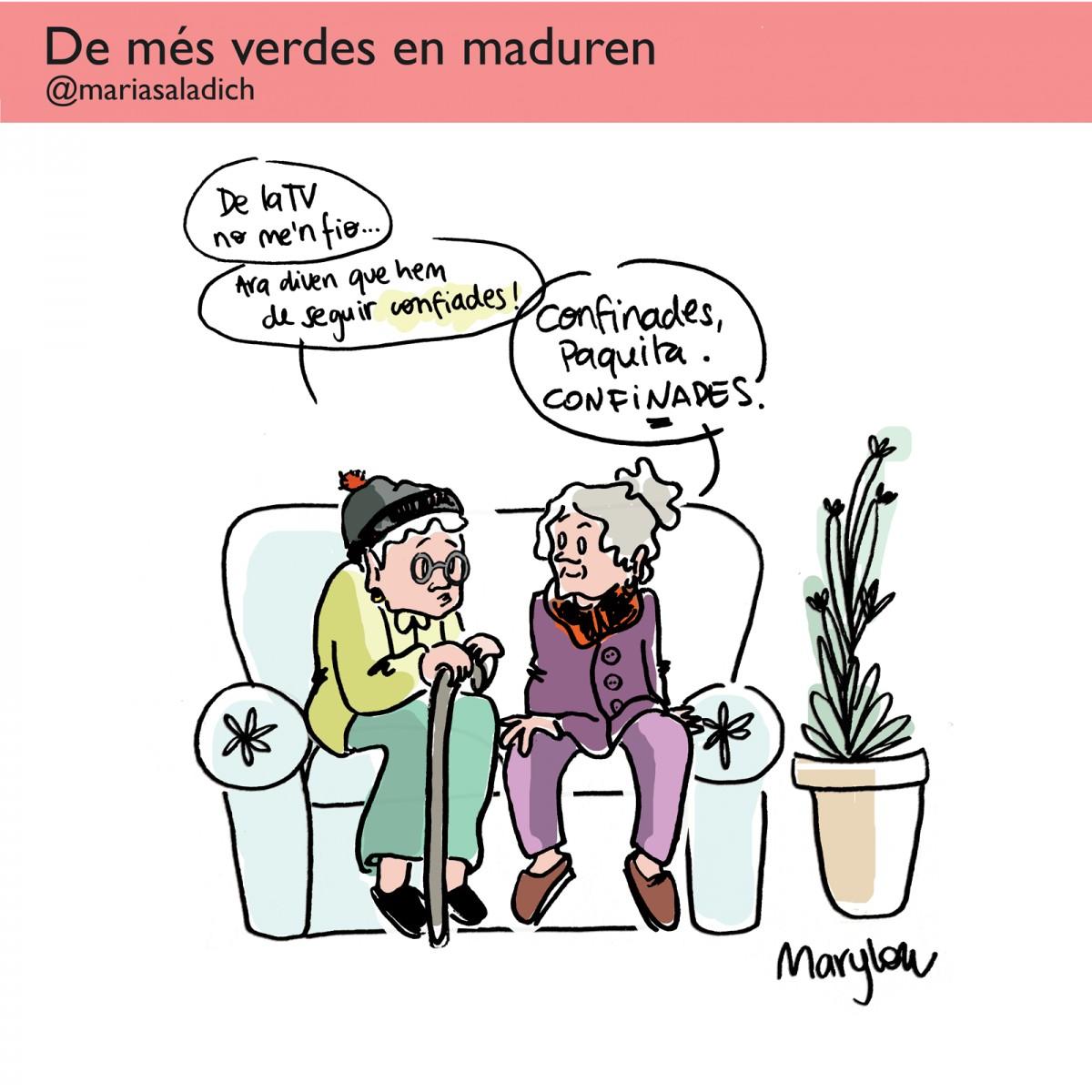 Primera vinyeta de Maria Saladich a Setembre. Les protagonistes són dues iaies