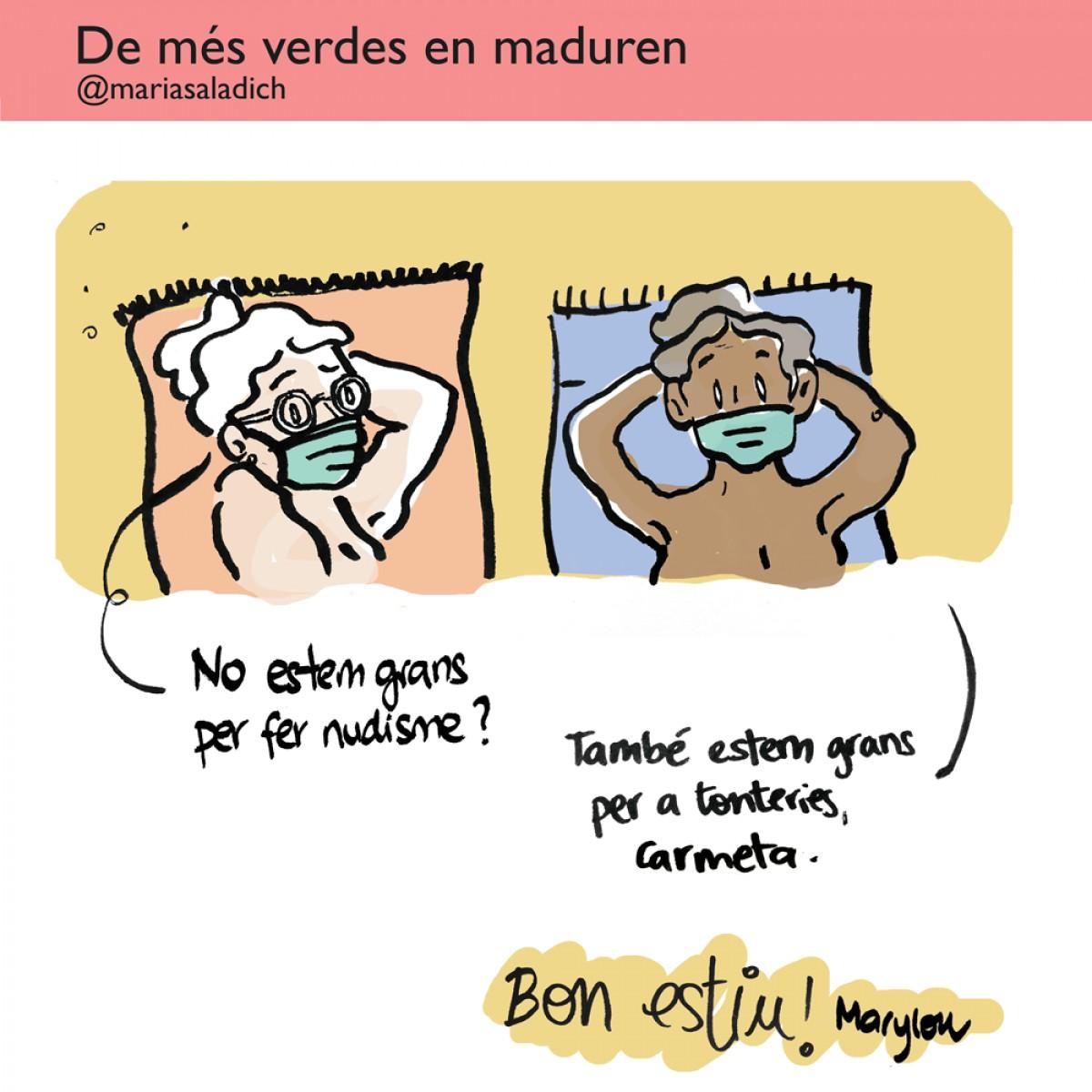 Les iaies de la il·lustradora Maria Saladich practiquen el nudisme, ja no estan per tonteries!