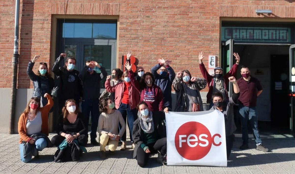Membres de l'organització de la FESC 2020 després de l'acte de cloenda