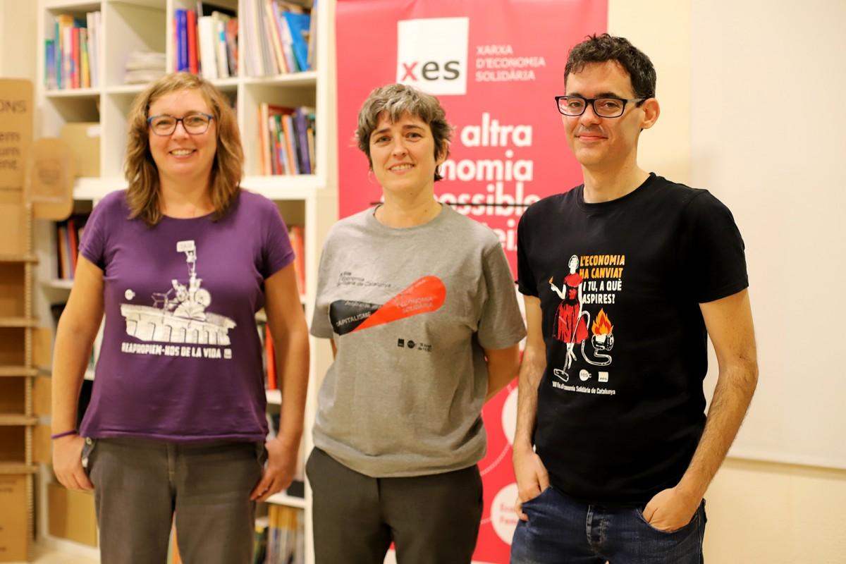 Anna Fernández, Eva Goenaga i Guillem Subirachs, a la presentació de la FESC 2021